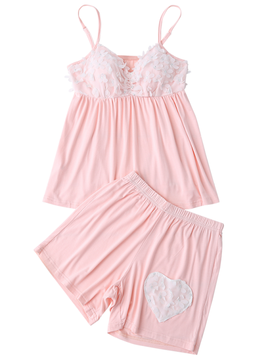 Padded Floral Applique Top and Shorts - LIGHT PINK L Mobile