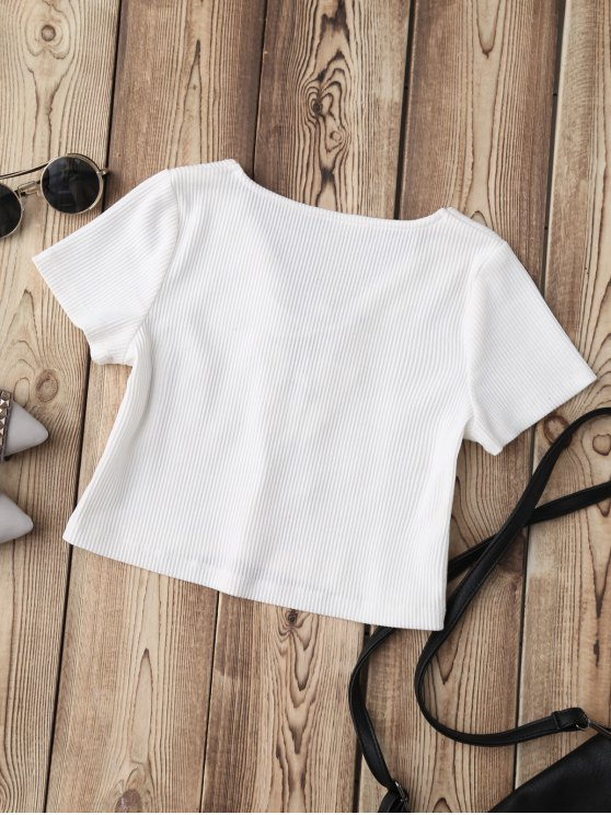 Lace Up Applique Ribbed Crop Top - WHITE S Mobile