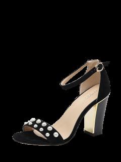 Block Heel Ankle Strap Faux Pearls Sandals - Black 38