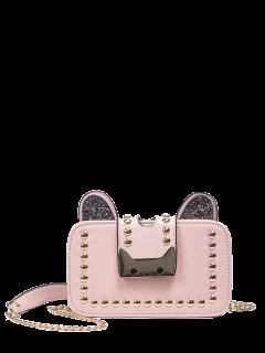 Sequin Chain Rivet Cross Body Bag - Pink