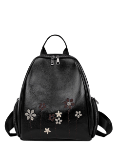 Flower Embroidery Faux Leather Backpack - Black