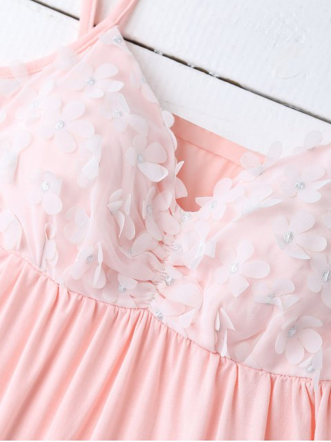 shops Padded Floral Applique Top and Shorts - LIGHT PINK L Mobile