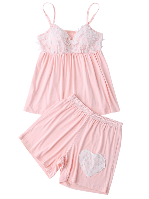 latest Padded Floral Applique Top and Shorts - LIGHT PINK XL Mobile