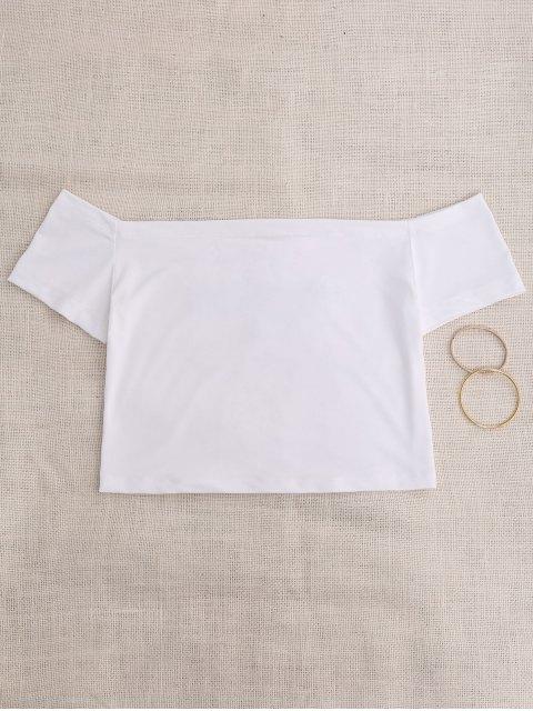 best Off Shoulder Applique Top - WHITE M Mobile