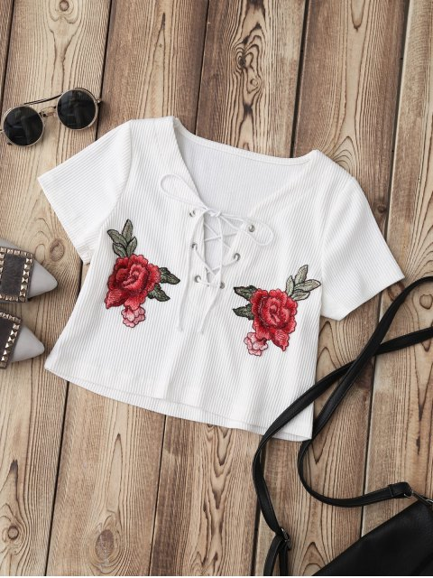 outfit Lace Up Applique Ribbed Crop Top - WHITE S Mobile