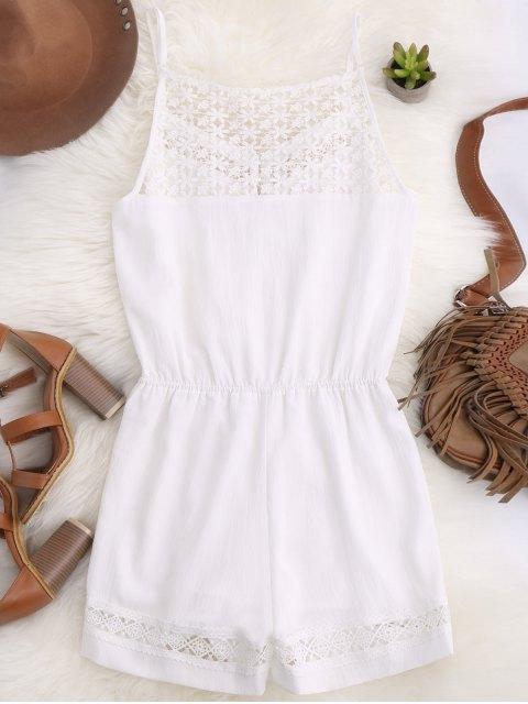 fashion Cami Laser Cut Romper - WHITE S Mobile