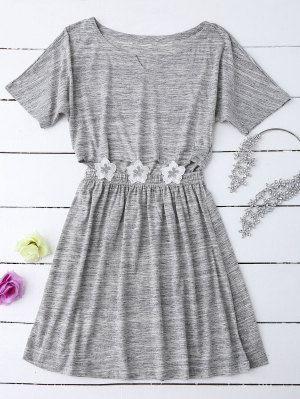 Heathered Cut Out Floral Patched Waist Babydoll - Gray