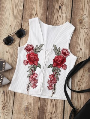 Lace Up Floral Applique Ribbed Top - White