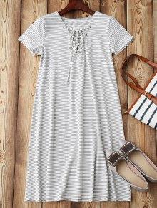 Lace Up Striped Loungewear - Stripe S