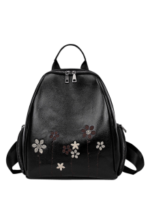 Flower Embroidery Faux Leather Backpack