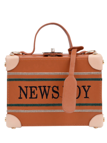 News Boy Embroidered Box Handbag - Light Brown