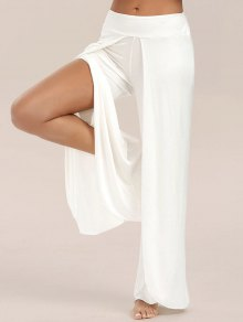 Pantalon Large Jambe Haute Fendus Flowy - Blanc