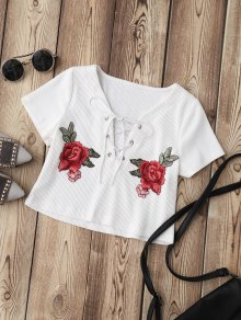 Lace Up Applique Ribbed Crop Top - White S