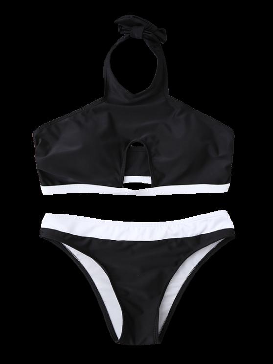 Halter Cut Out Bathing Suit - BLACK L Mobile