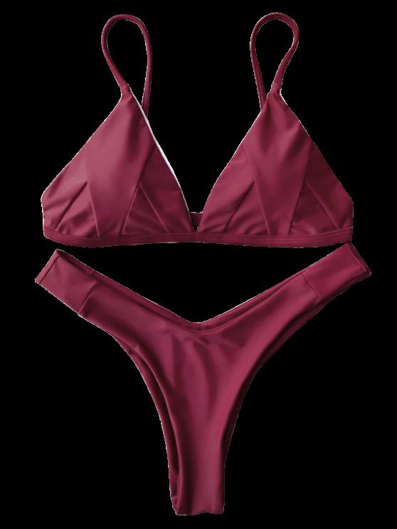 Soft Padded Cami Bikini Set - BURGUNDY M Mobile