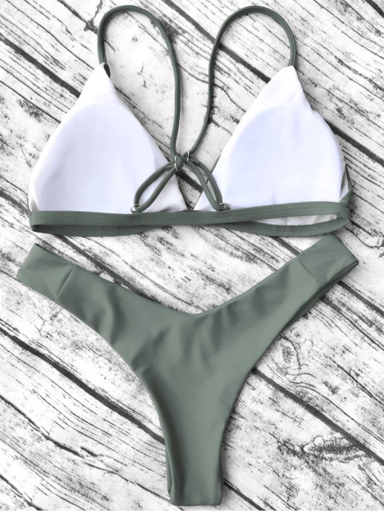 Soft Padded Cami Bikini Set - ARMY GREEN S Mobile