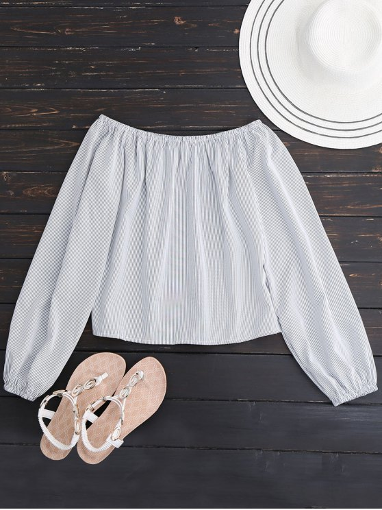 hot Long Sleeved Off The Shoulder Top - WHITE S