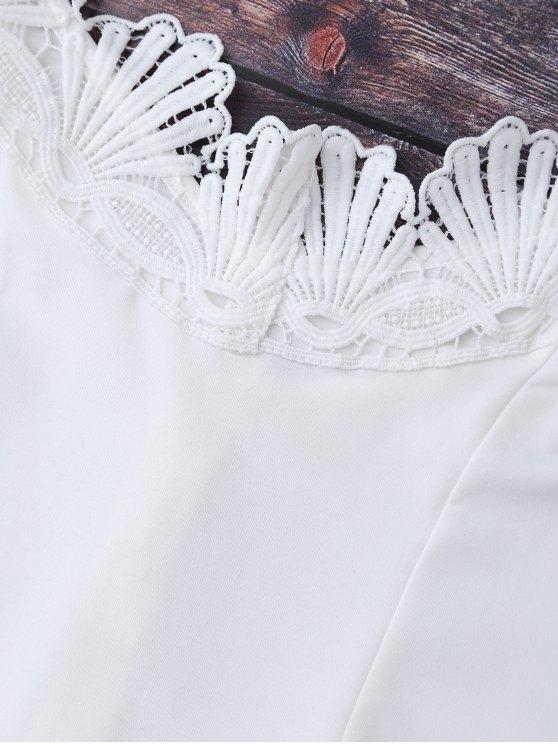 Lace Trim Off The Shoulder Bodysuit - WHITE L Mobile