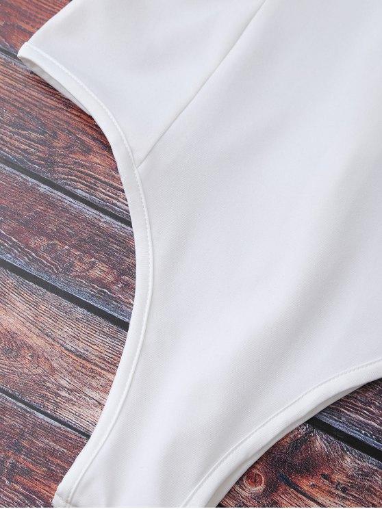 Lace Trim Off The Shoulder Bodysuit - WHITE XL Mobile