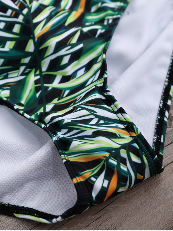 Cupped Lace Up High Waisted Bikini Set - GREEN M Mobile