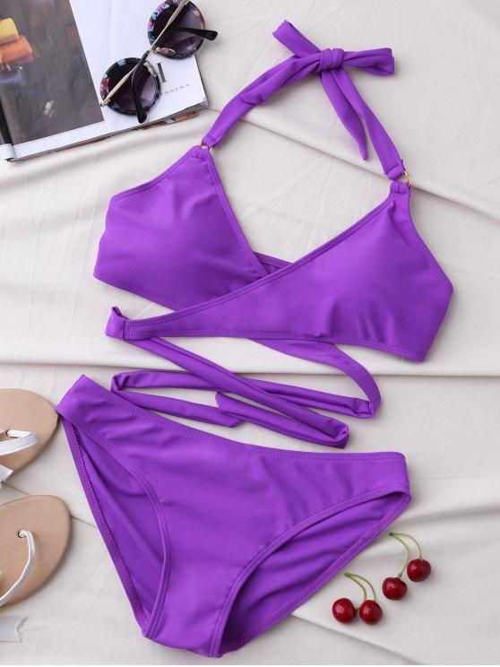 hot Metal Ring Wrap Bikini Set - PURPLE XL