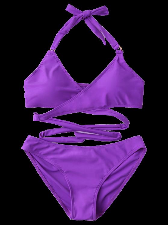 Metal Ring Wrap Bikini Set - PURPLE S Mobile