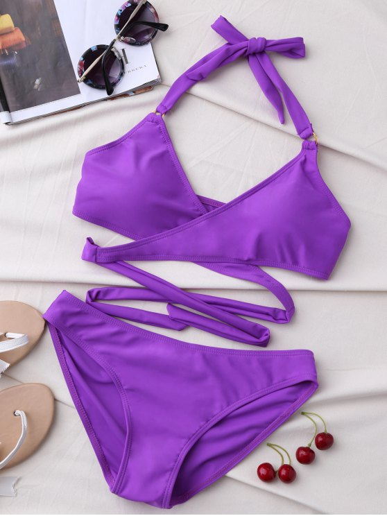 shop Metal Ring Wrap Bikini Set - PURPLE S
