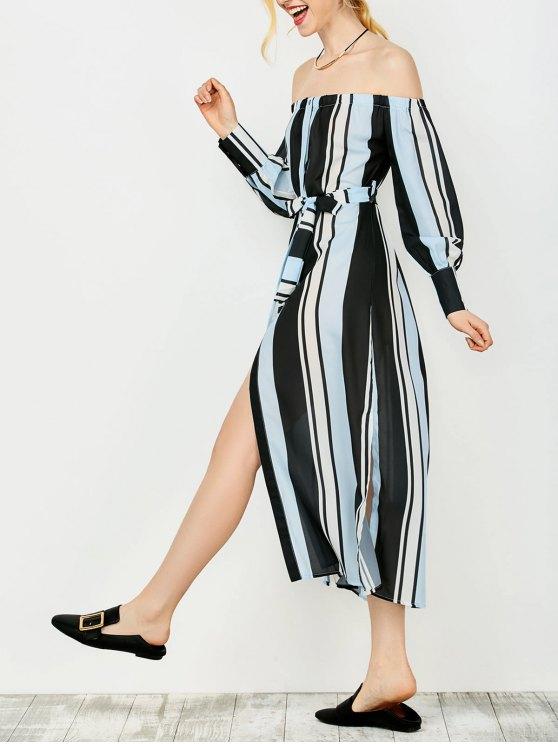 Robe rayée  aux épaules dénudées avec des manches longues - Bleu et Noir 2XL