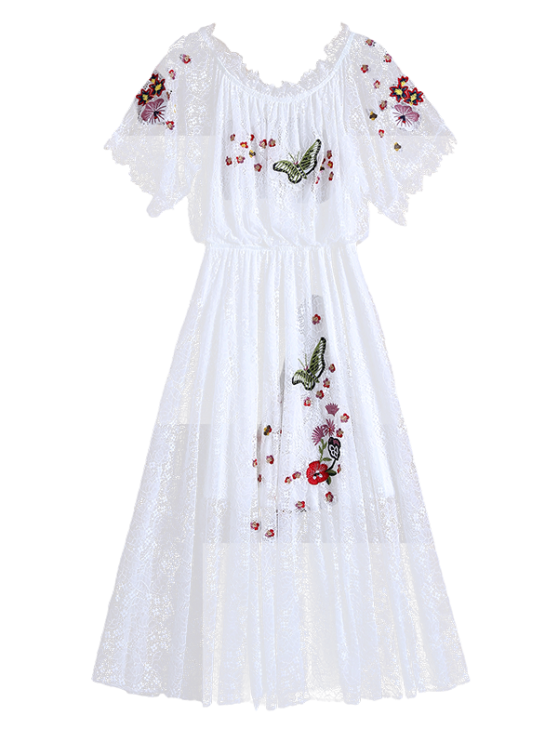 Off Shoulder Embroidered Lace Dress - WHITE S Mobile