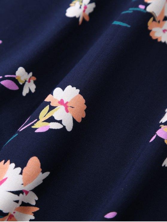 V Neck Floral Print Flared Dress - PURPLISH BLUE XL Mobile