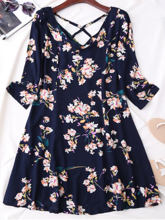 V cuello de la impresión floral Vestido evasé - Azul Purpúreo L