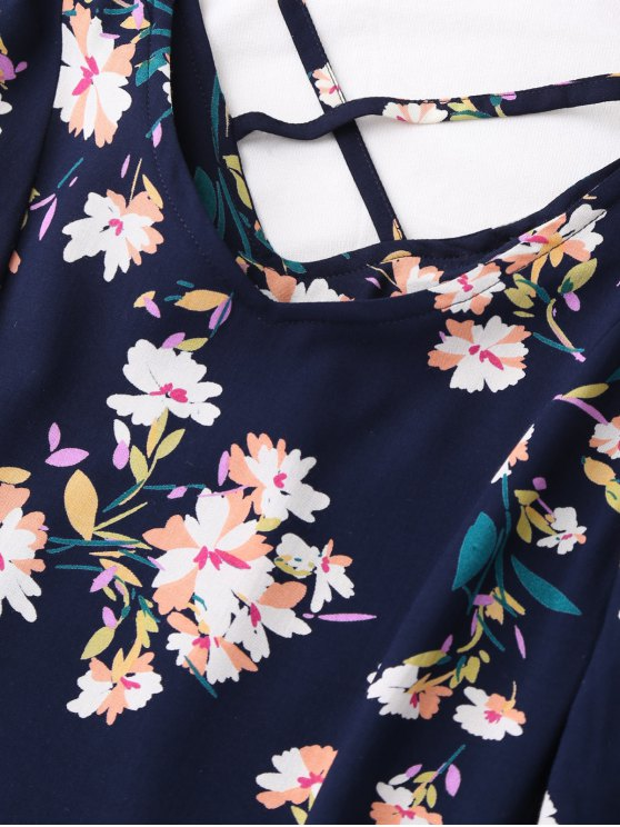 V Neck Floral Print Flared Dress - PURPLISH BLUE M Mobile