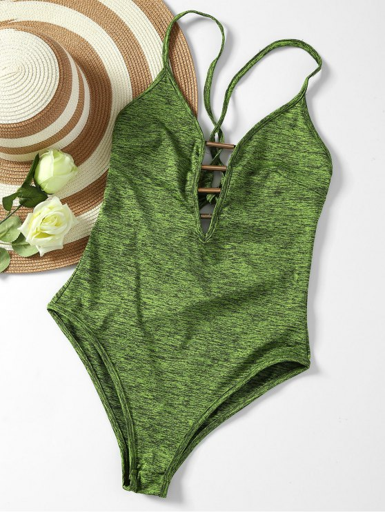 Lace Up Plunge Neck Monokini - ARMY GREEN S Mobile
