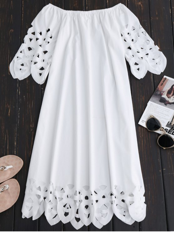 Off The Shoulder Flared Dress - WHITE M Mobile
