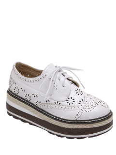 Hollow Out Wingtip Tie Up Platform Shoes - White 39