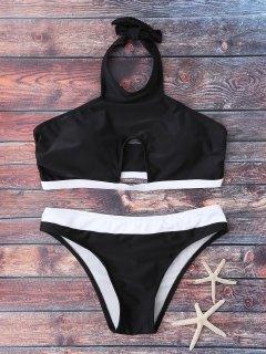 Halter Cut Out Bathing Suit - Black L