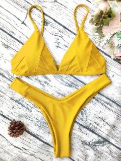 Soft Padded Cami Shell Bikini Set - Yellow S