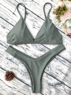 Soft Padded Cami Shell Bikini Set - Army Green S