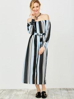 Multi Stripes Off The Shoulder Dress - Blue And Black S