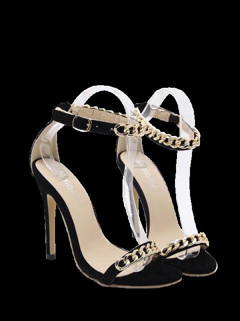 hot Mini Heel Chains Ankle Strap Sandals - BLACK 38 Mobile