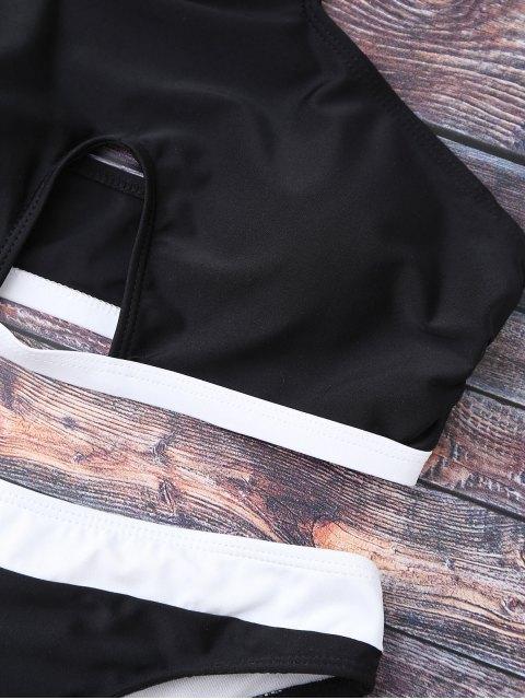 shop Halter Cut Out Bathing Suit - BLACK S Mobile