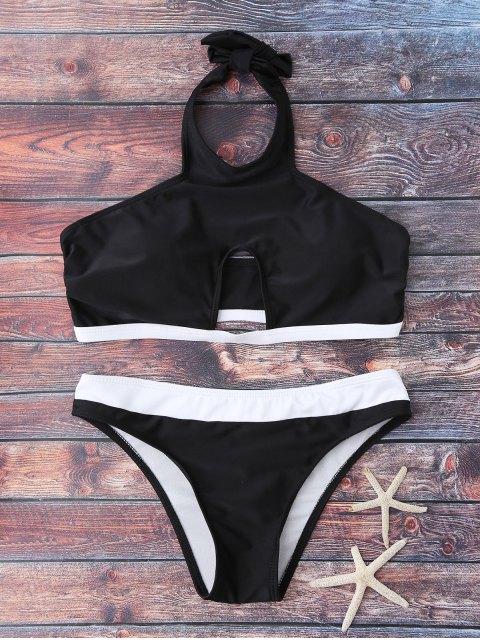 latest Halter Cut Out Bathing Suit - BLACK L Mobile