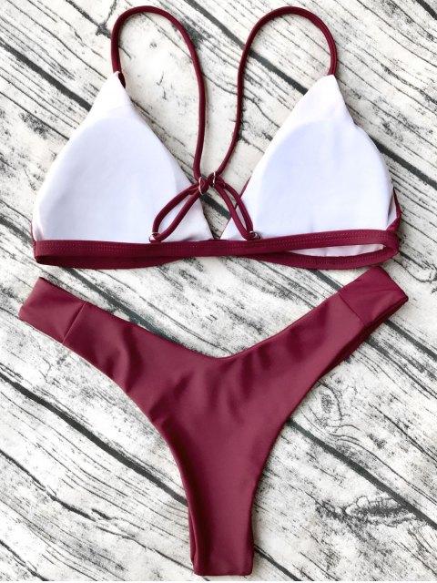 fashion Soft Padded Cami Shell Bikini Set - BURGUNDY M Mobile