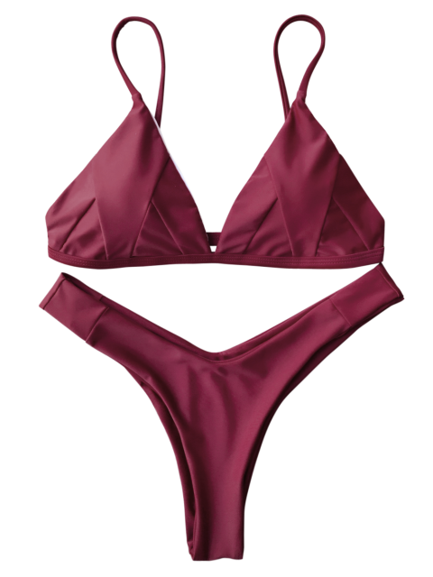 chic Soft Padded Cami Shell Bikini Set - BURGUNDY S Mobile