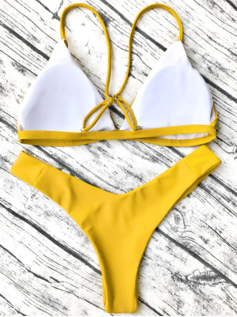 sale Soft Padded Cami Shell Bikini Set - YELLOW S Mobile