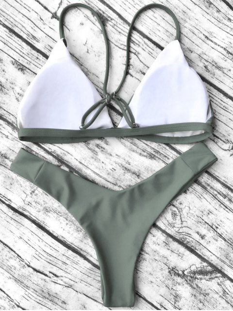 affordable Soft Padded Cami Shell Bikini Set - ARMY GREEN L Mobile