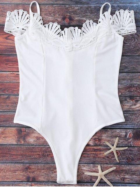 hot Lace Trim Off The Shoulder Bodysuit - WHITE M Mobile