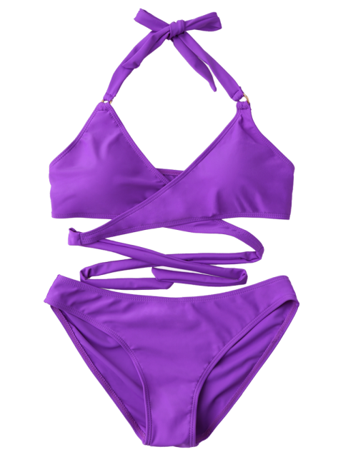 outfit Metal Ring Wrap Bikini Set - PURPLE L Mobile