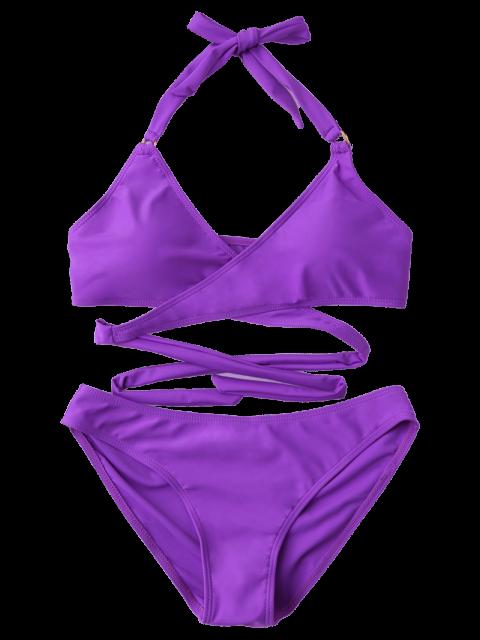 shop Metal Ring Wrap Bikini Set - PURPLE S Mobile