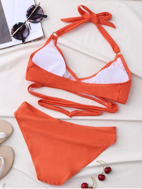 fashion Metal Ring Wrap Bikini Set - ORANGE S Mobile